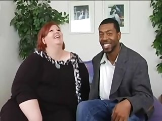Redhead BBW fucks underfed ebony stranger
