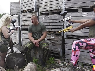 Aroused females in rough training fuck scenes on a steel dick