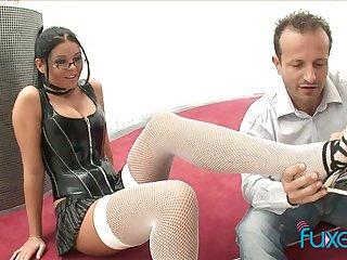 Busty nerdy bitch jams big bosom as her soaking pussy is licked
