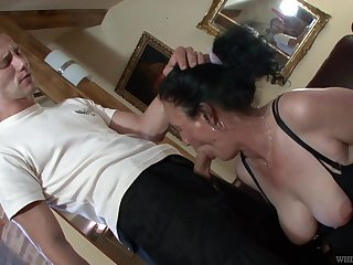 Dressed moorland stuff and fishnet stuff mature whore Marianna is fucked