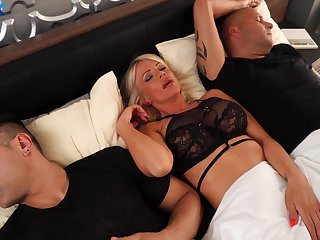 MILF gets the dick from both hubby increased by her step son