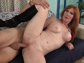 Admirable ass redhead fucked and made to swallow by the brush stepson
