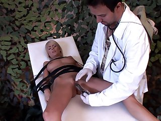 Naughty doctor tied up stunning Jasmine Rouge to daub their way holes
