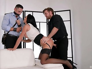 Chesty Jasmine Jae boned hard before of a bound cuckold before he joins