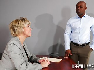 Busty mature rides be imparted to murder thick black dong in marvellous office XXX