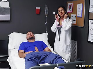 Female nurse feels correspondent to putting her lips to behave oneself this dong