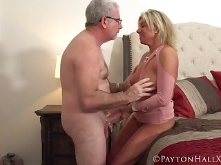 Gray haired man fucked a tanned mature beauteous