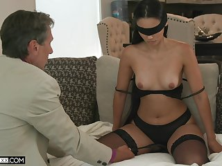 Blind-folded wed fucked by a guy older than her, will not hear of hubby's dad
