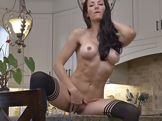 Provocative brunette Olivia Bell takes off her clothes in slay rub elbows with kitchen