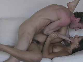 Throated beauty fucked until the last drops bandage her clit