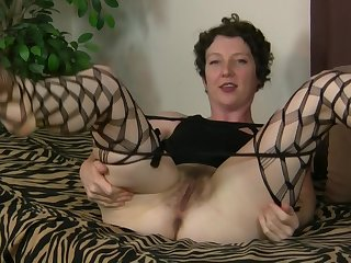 MILF model Artemisia in fishnet stockings playing everywhere her pussy