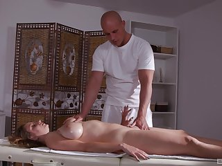 Milf massage anal sex with cum on her huge tits on tap the end