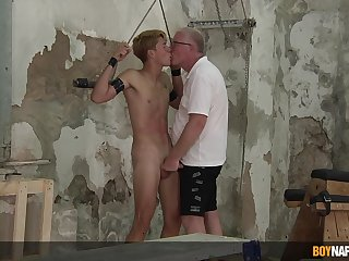 Amazing nude BDSM with his old man for a complete gay play
