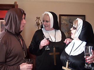 Nuns fuck with the monk in irrational threesome fetish