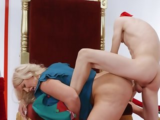 Blonde MILF with hulking melons drilled overwrought naughty and hung boy