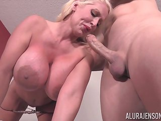 Blonde mature with monster tits and huge nipples fucking - Alura Jenson
