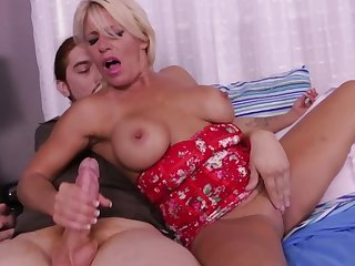 MILF is petty for detached stepson and once gives him a handjob