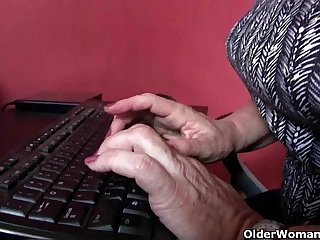 Office grannies upon pantyhose need to win off