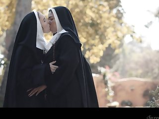 Horny nun Lena Paul can think only about sinful cunnilingus out of the closet