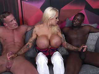 Cougar slut deals several monster dicks in a wild threesome