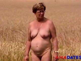 Matured nude outside