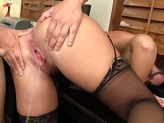 Naughty woman fingers her asshole for more appreciation with a cock in her pussy