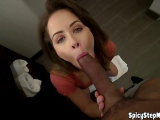 MILF teacher stepmom blowjob and HJ lesson POV style
