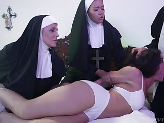 Horny Victoria Voxxx needs two nuns and a priest hither exorcise the demon out of her cunt