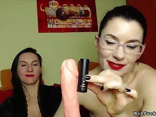 Two brunette Milf lesbian bffs team a few of them nigh eyeglasses posing on cam