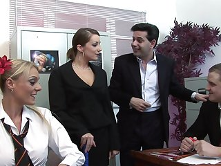 Naked office ladies are in for a spicy operation love affair foursome