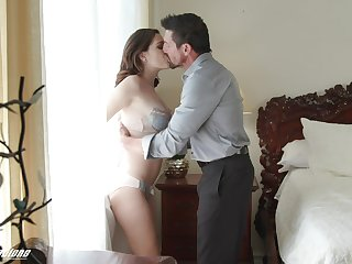 Old daddy fucks beautiful young stepdaughter Brooke Haze