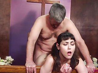Horny man of God licks and fucks ponytailed cutie Audrey Noir